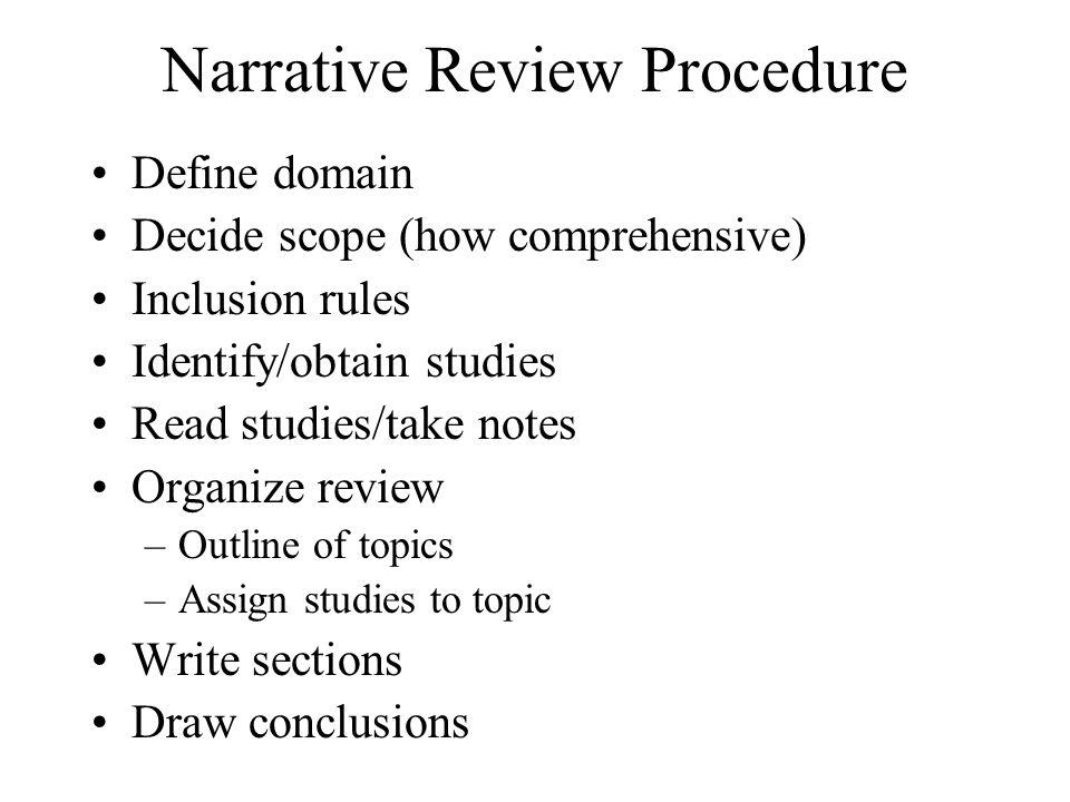 Narrative Review Procedure