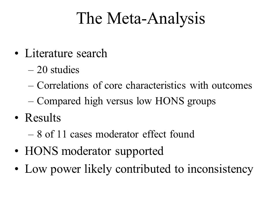 The Meta-Analysis Literature search Results HONS moderator supported