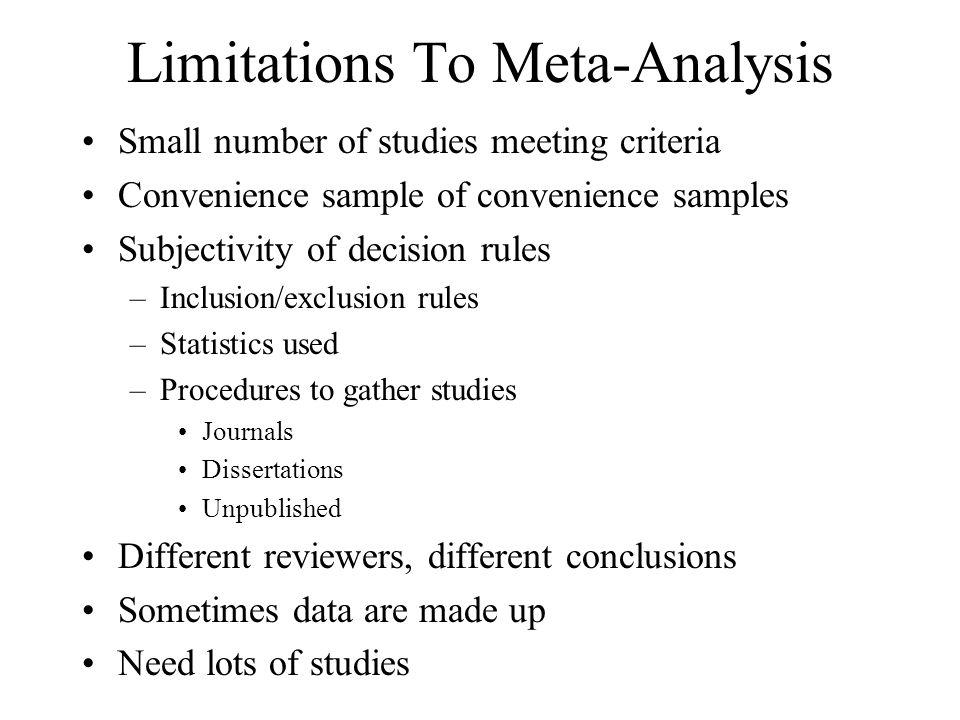 Limitations To Meta-Analysis