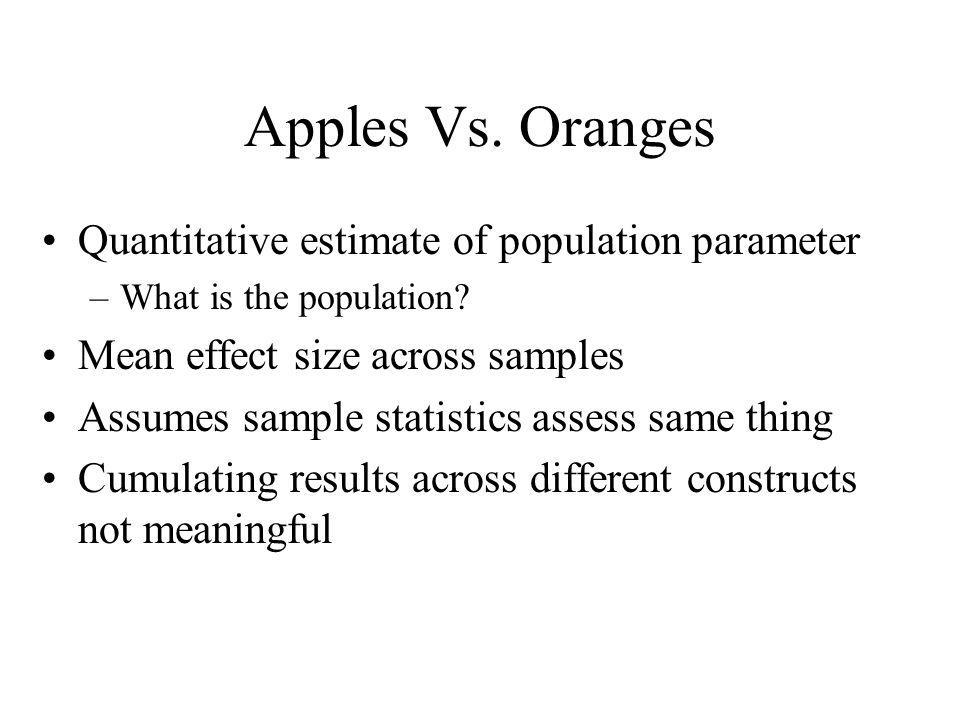 Apples Vs. Oranges Quantitative estimate of population parameter
