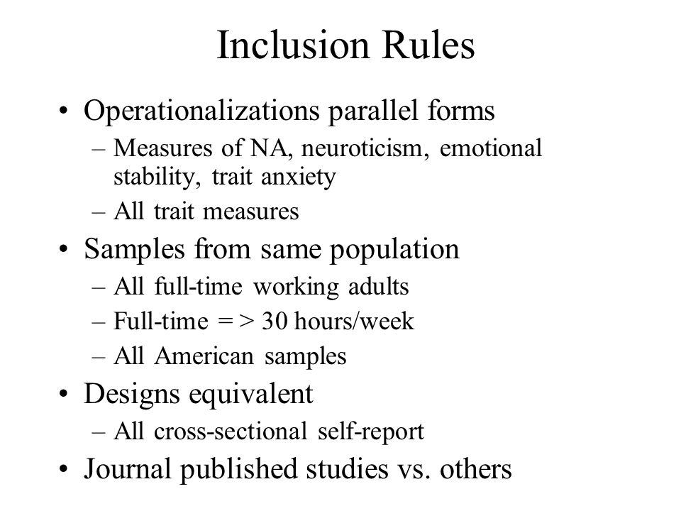 Inclusion Rules Operationalizations parallel forms