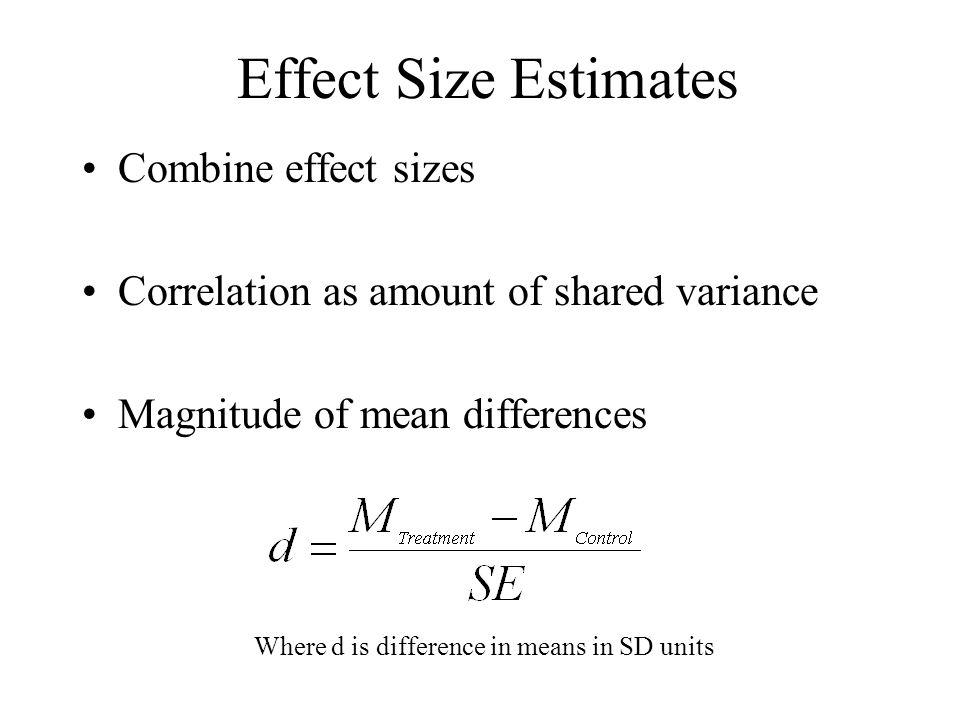 Effect Size Estimates Combine effect sizes