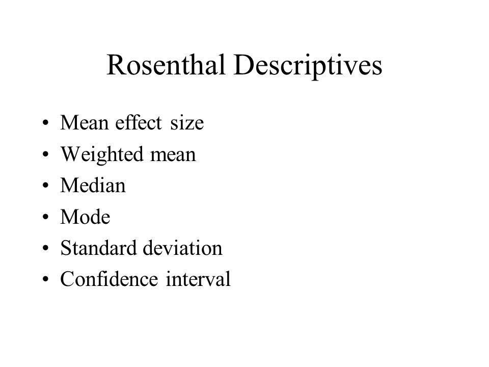Rosenthal Descriptives