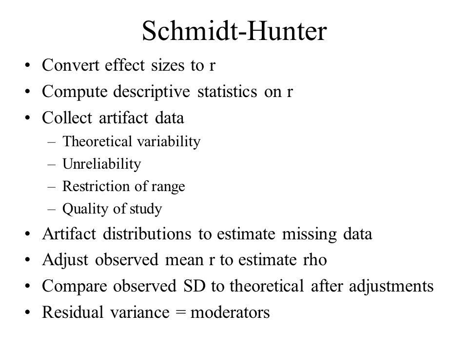 Schmidt-Hunter Convert effect sizes to r
