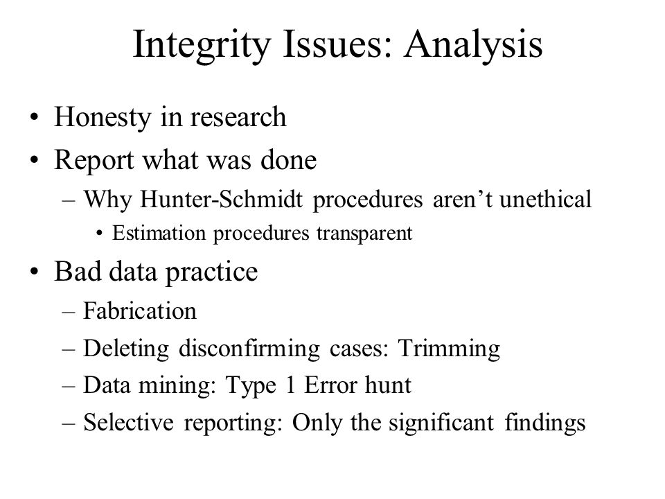 Integrity Issues: Analysis