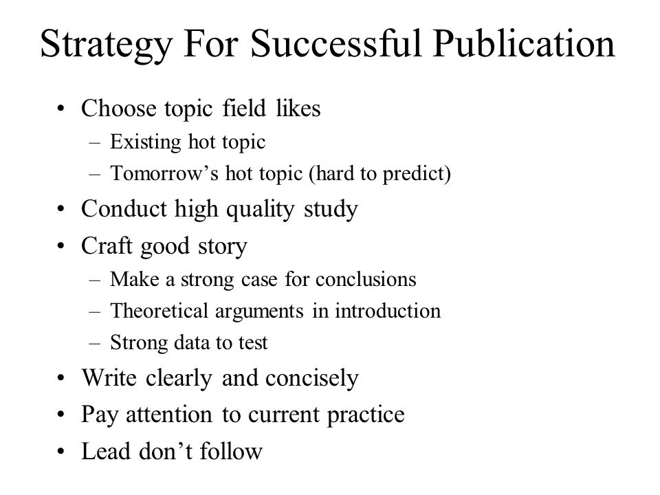 Strategy For Successful Publication