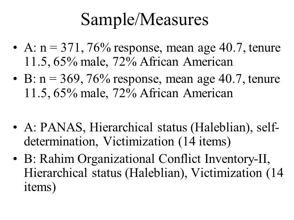 Sample/Measures A: n = 371, 76% response, mean age 40.7, tenure 11.5, 65% male, 72% African American.