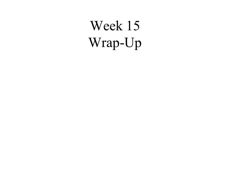 Week 15 Wrap-Up