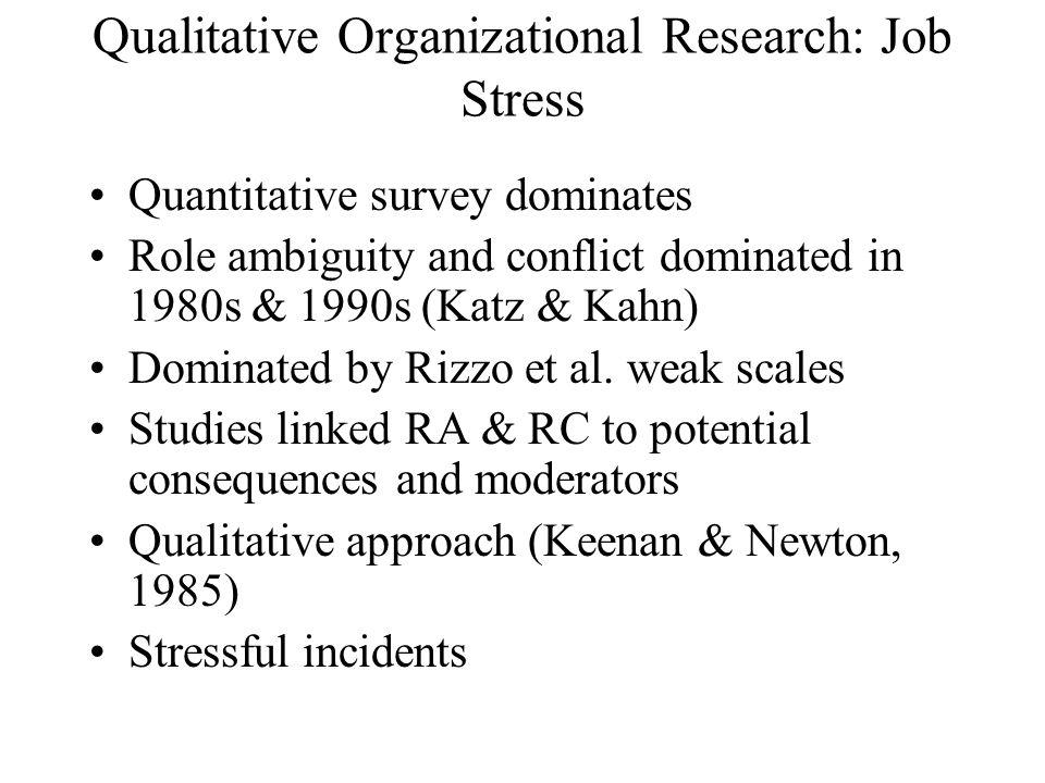 Qualitative Organizational Research: Job Stress