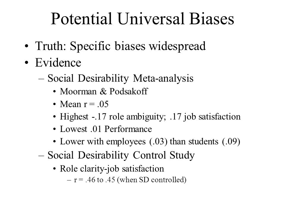 Potential Universal Biases
