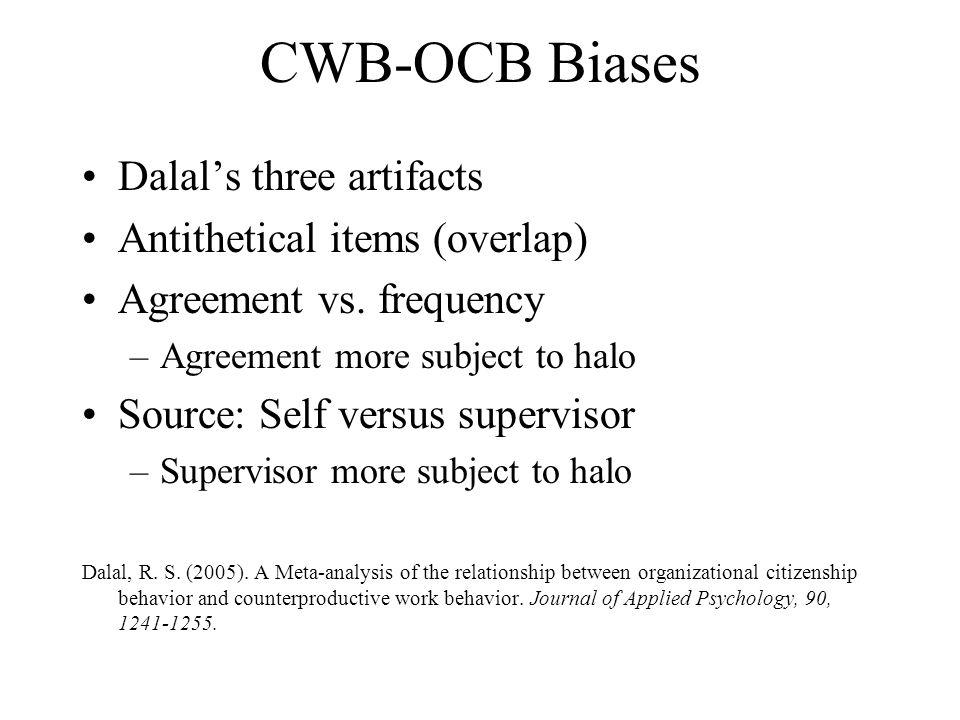 CWB-OCB Biases Dalal's three artifacts Antithetical items (overlap)