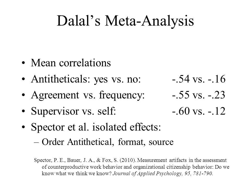 Dalal's Meta-Analysis
