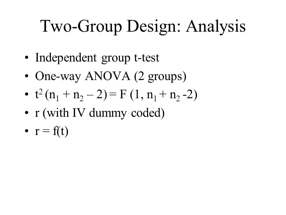 Two-Group Design: Analysis