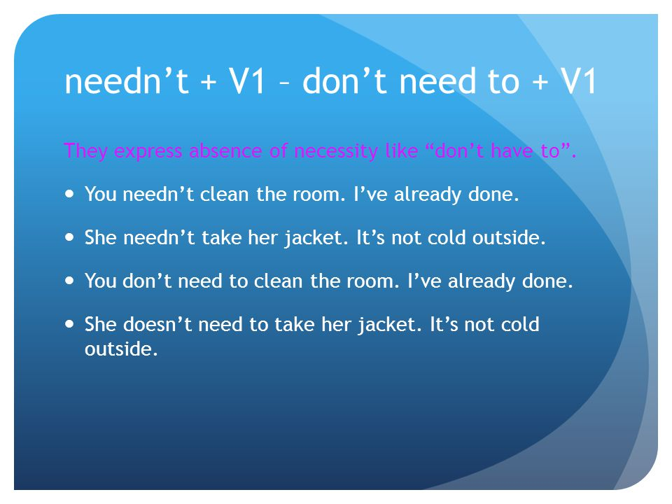 needn't + V1 – don't need to + V1