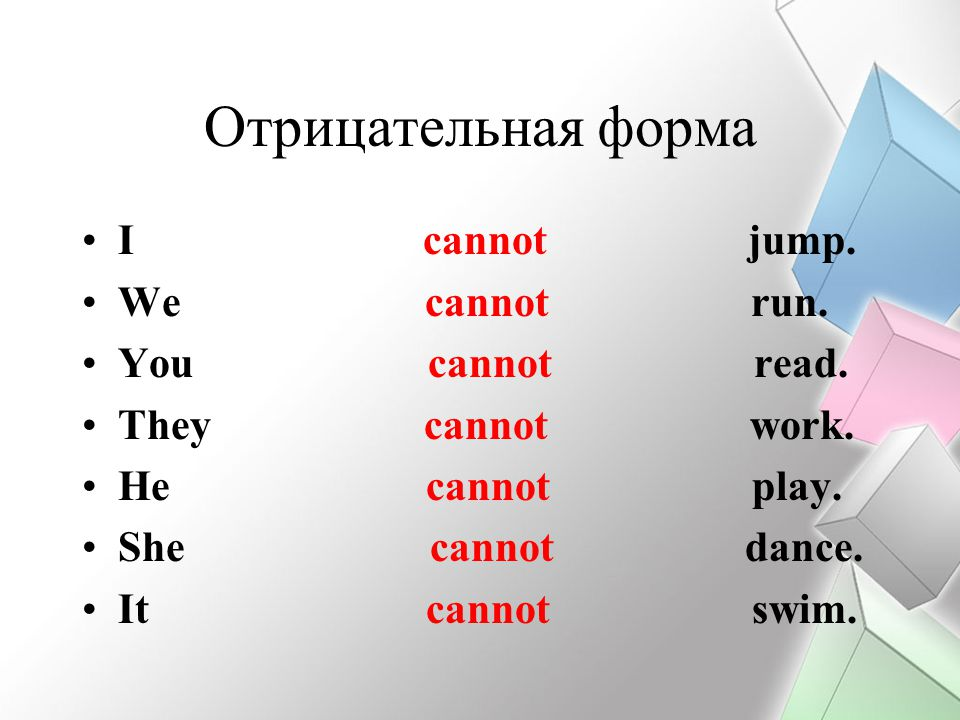 Отрицательная форма I cannot jump. We cannot run. You cannot read.