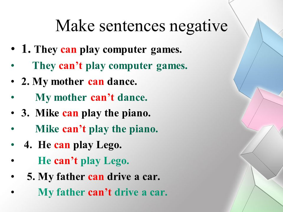 Make sentences negative