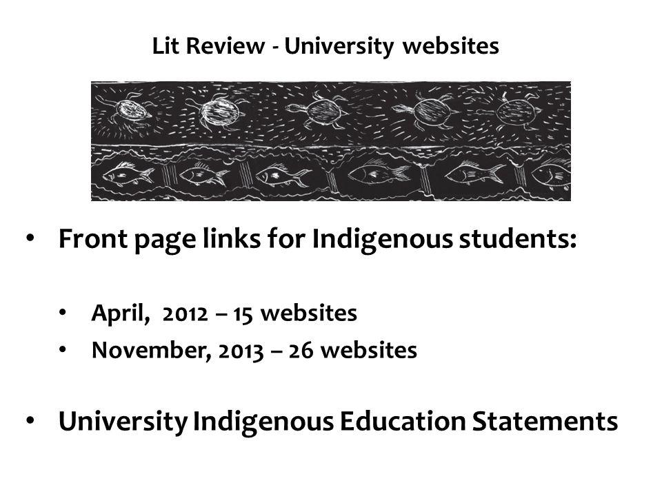 Lit Review - University websites