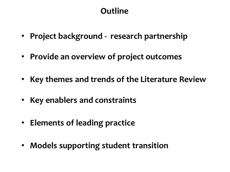 Outline Project background - research partnership
