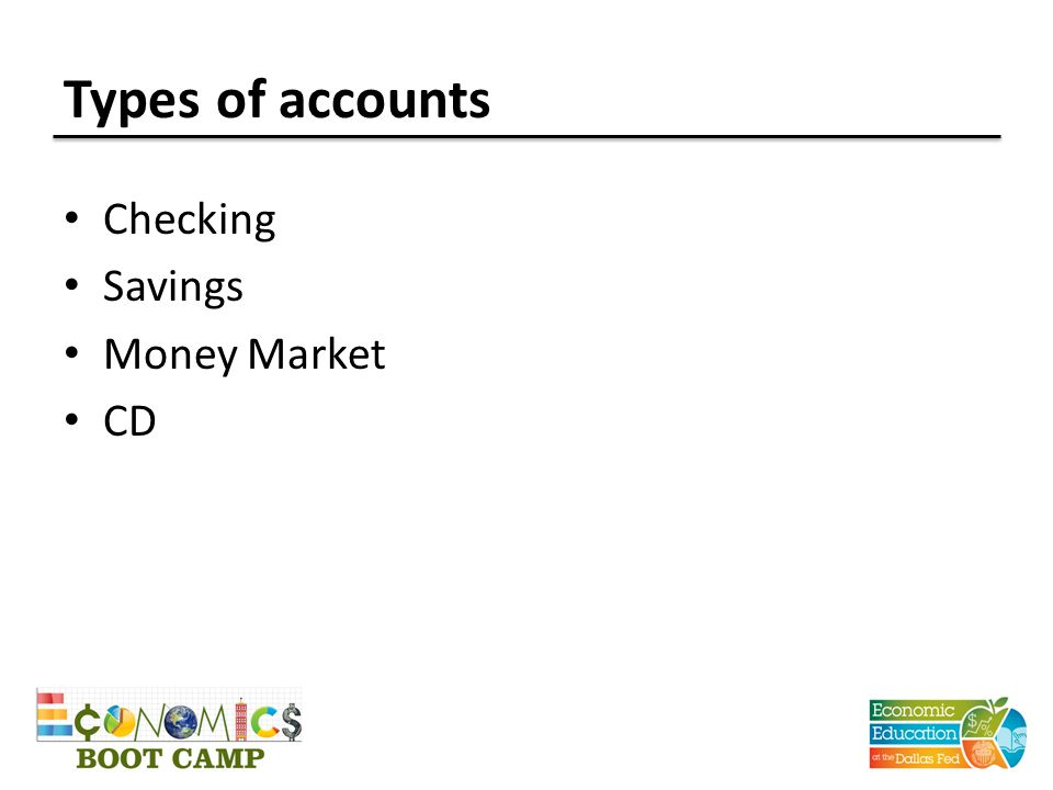 Types of accounts Checking Savings Money Market CD