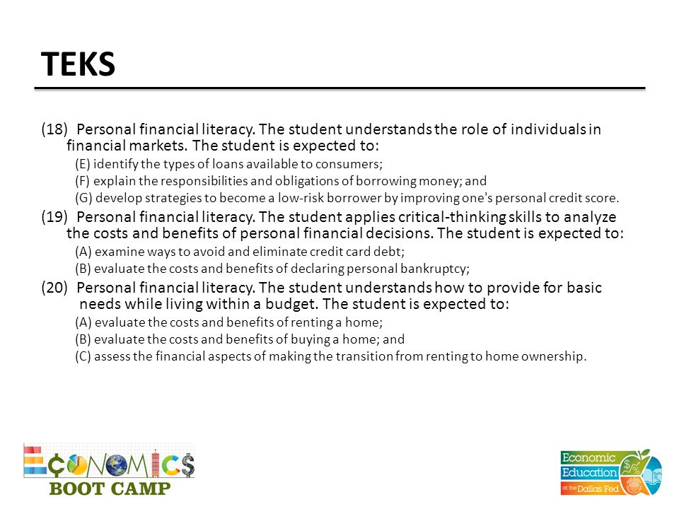 TEKS (18) Personal financial literacy. The student understands the role of individuals in financial markets. The student is expected to: