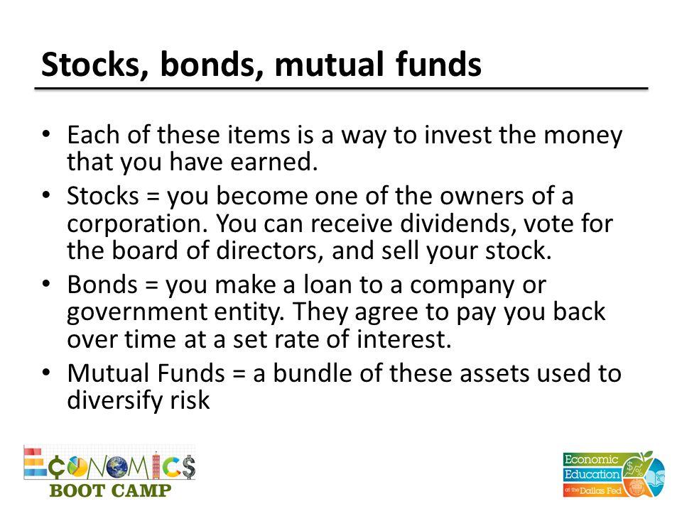Stocks, bonds, mutual funds