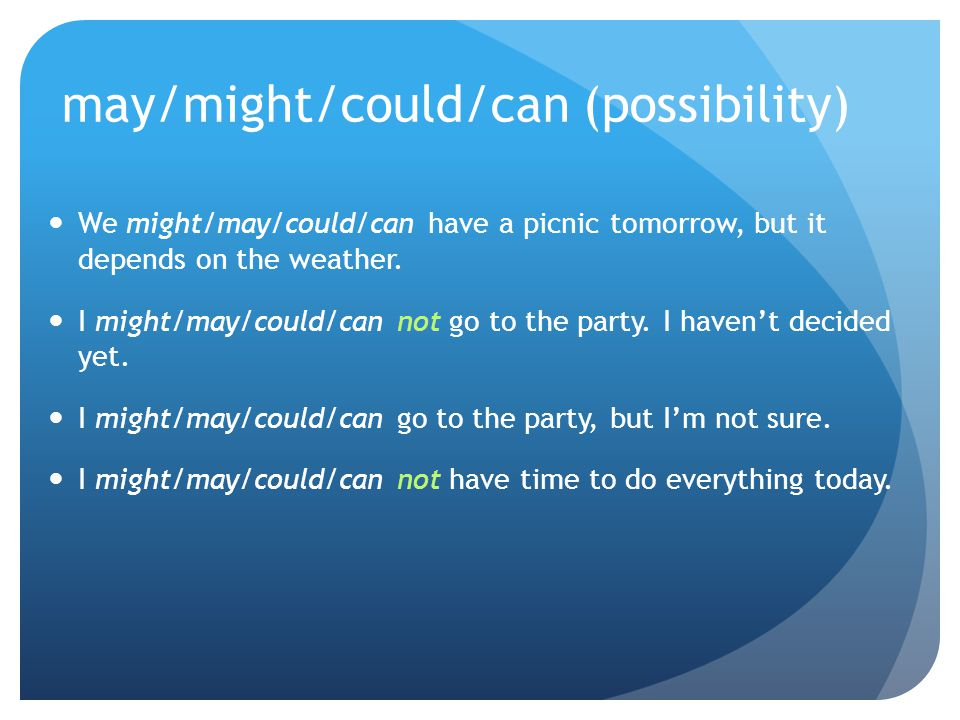 may/might/could/can (possibility)