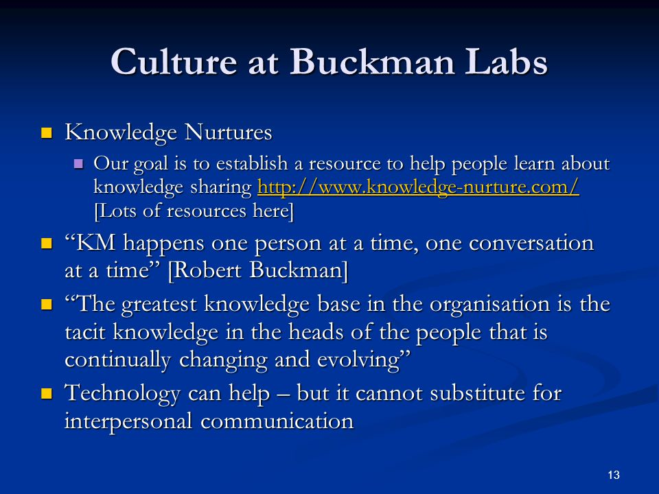 Culture at Buckman Labs