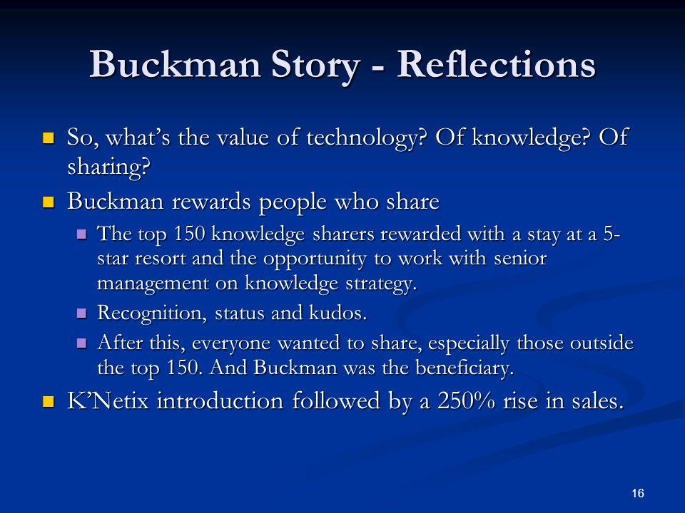 Buckman Story - Reflections