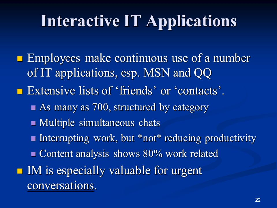 Interactive IT Applications