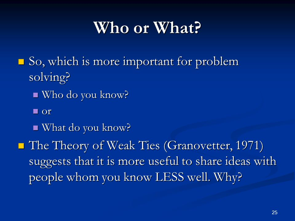 Who or What So, which is more important for problem solving