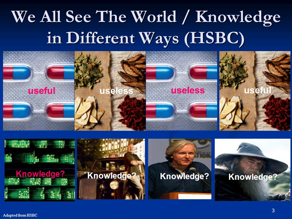 We All See The World / Knowledge in Different Ways (HSBC)