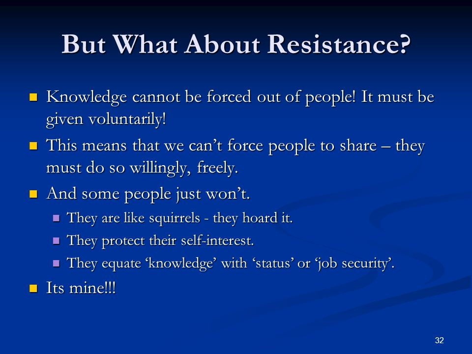 But What About Resistance