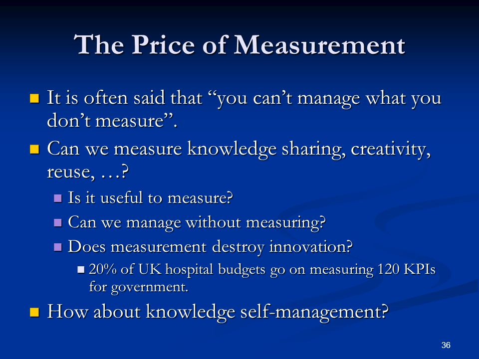 The Price of Measurement