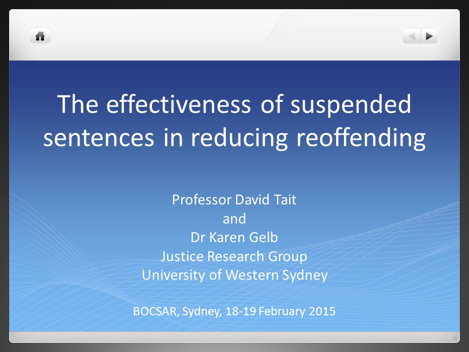 The effectiveness of suspended sentences in reducing reoffending