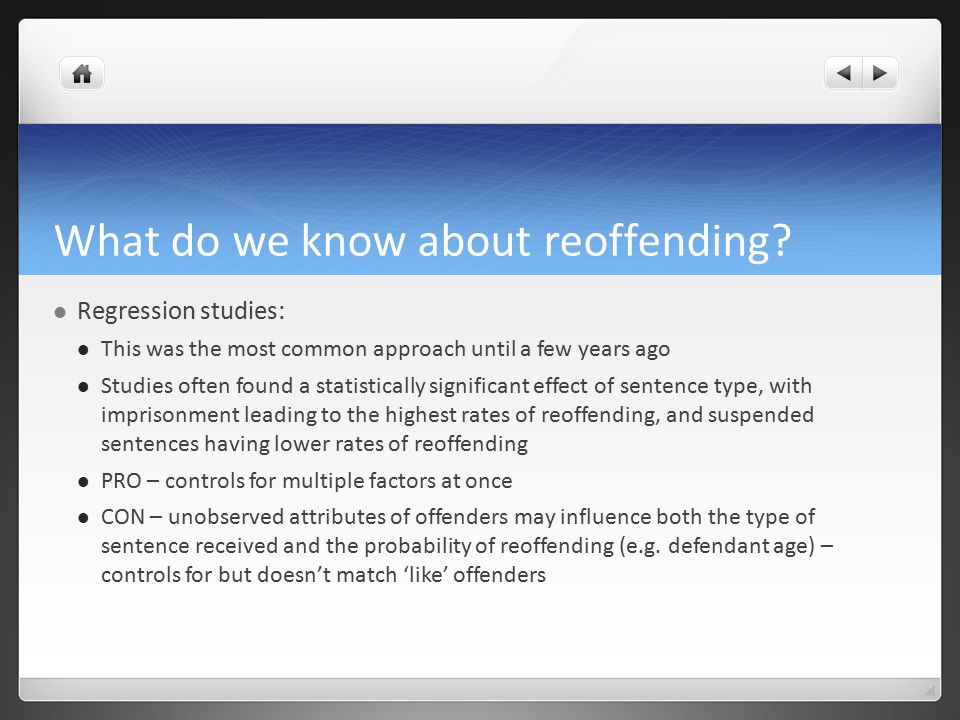 What do we know about reoffending