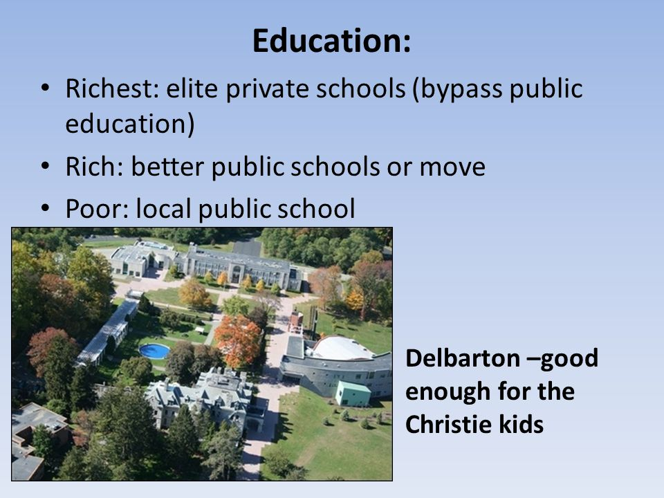 Education: Richest: elite private schools (bypass public education)