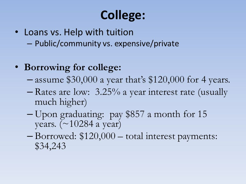 College: Loans vs. Help with tuition Borrowing for college:
