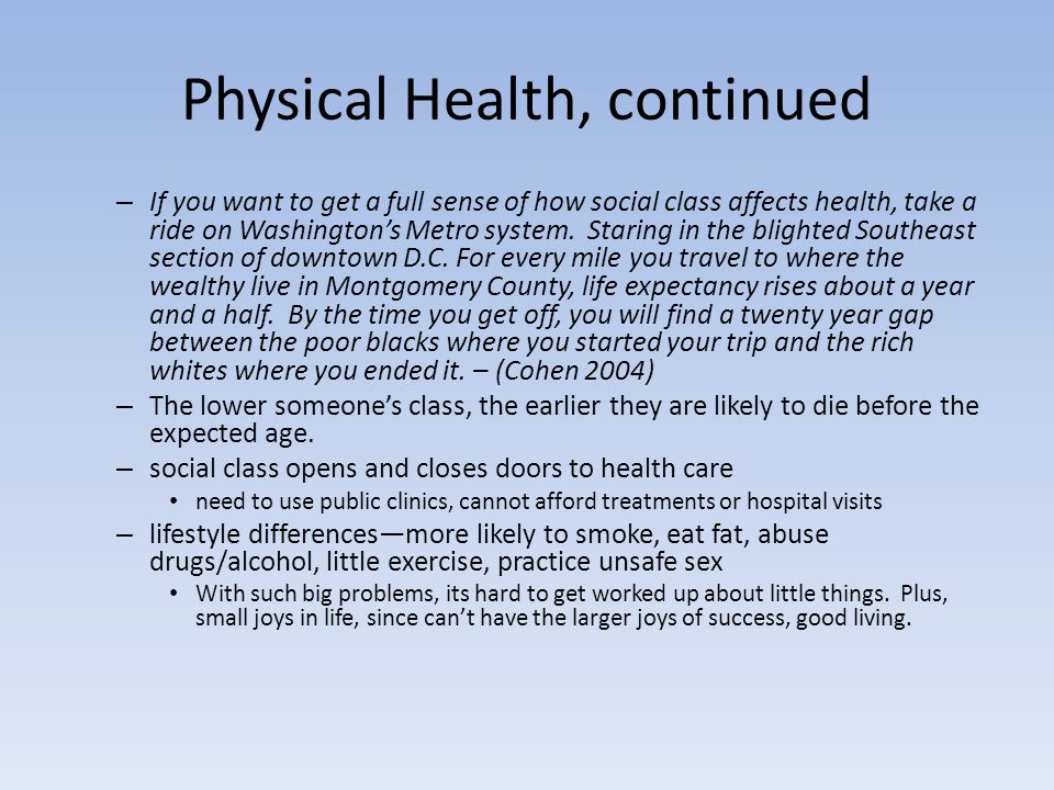 Physical Health, continued