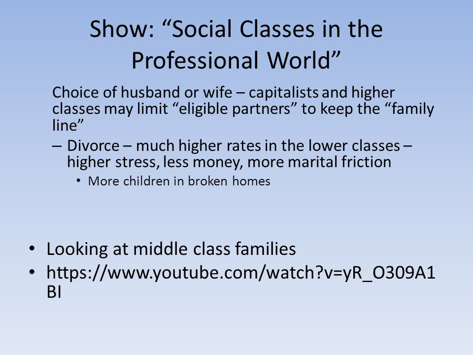 Show: Social Classes in the Professional World