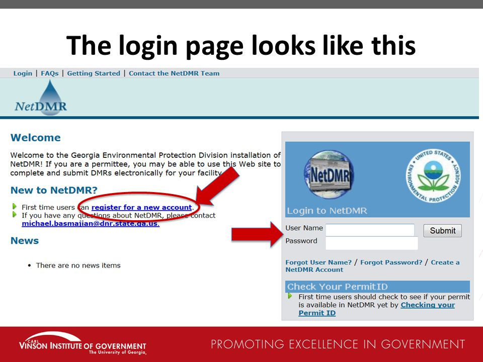 The login page looks like this