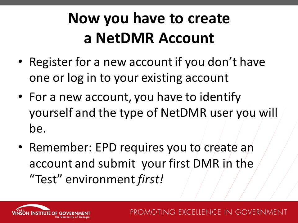 Now you have to create a NetDMR Account