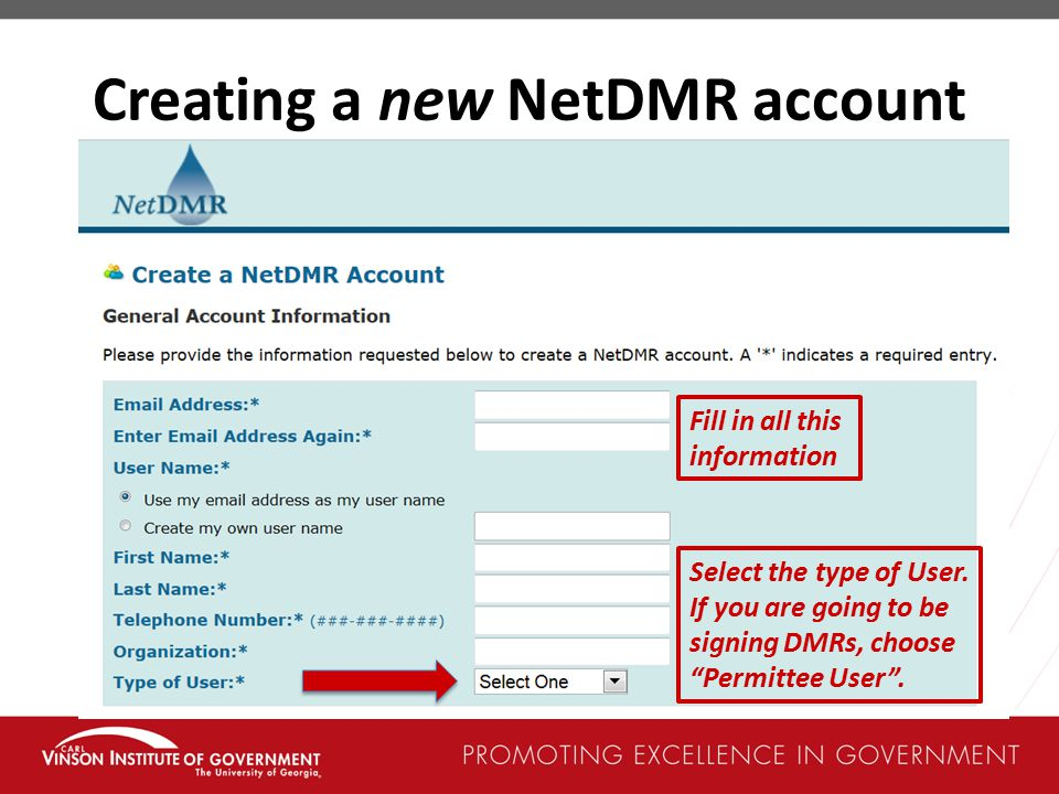 Creating a new NetDMR account
