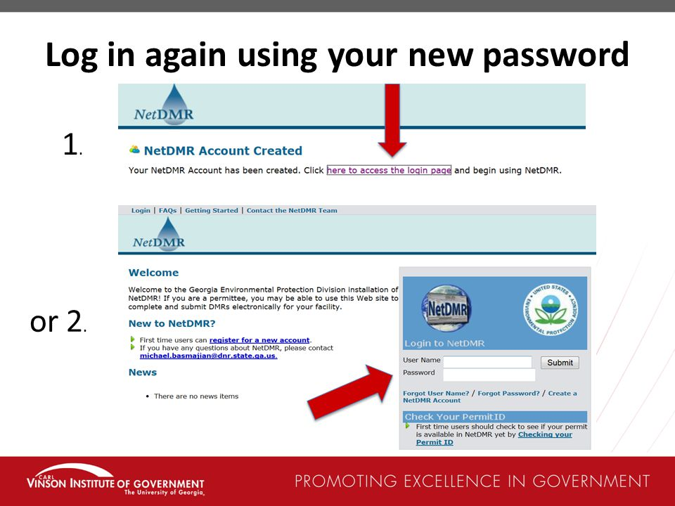 Log in again using your new password