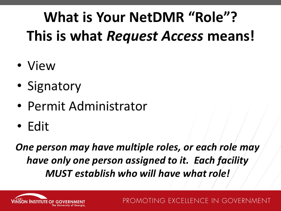 What is Your NetDMR Role This is what Request Access means!