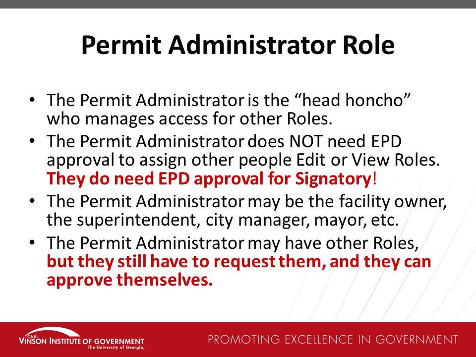 Permit Administrator Role