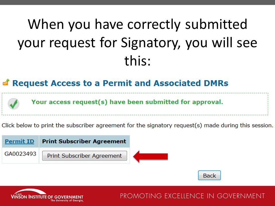 When you have correctly submitted your request for Signatory, you will see this:
