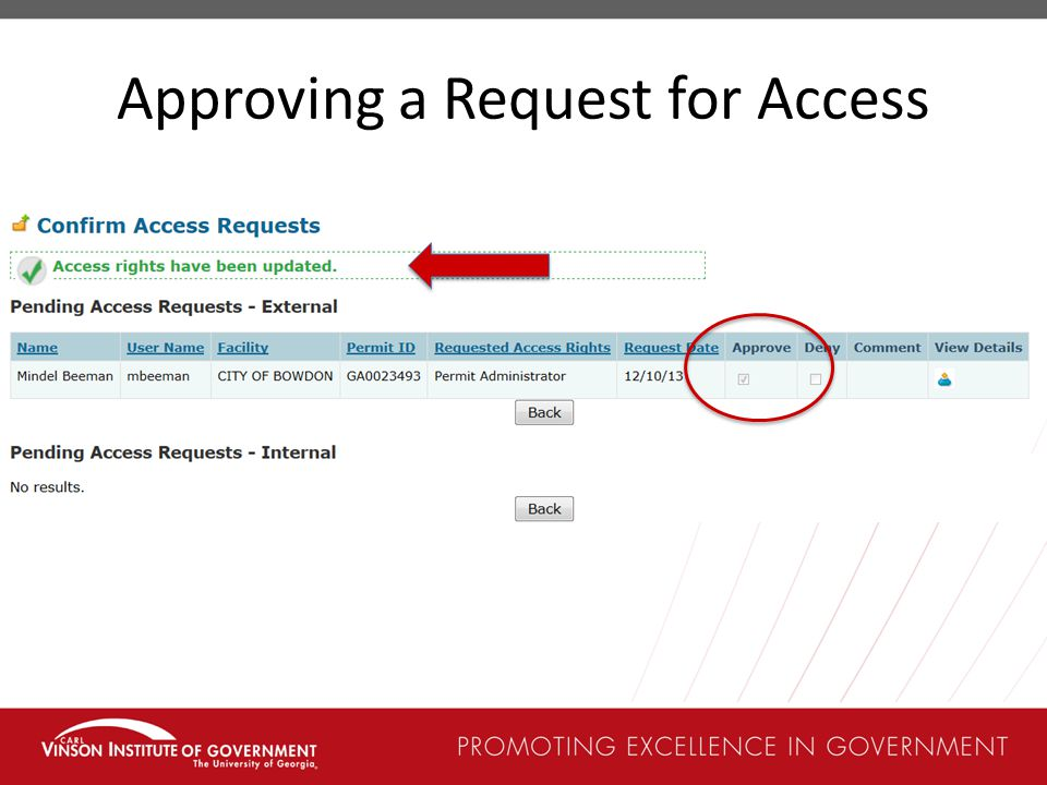 Approving a Request for Access