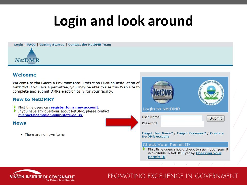 Login and look around