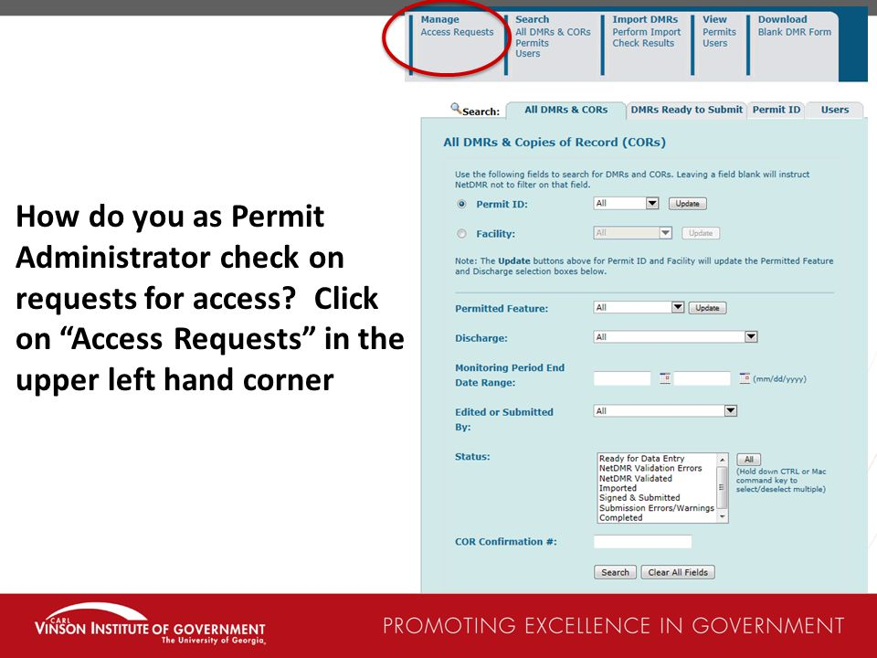 How do you as Permit Administrator check on requests for access