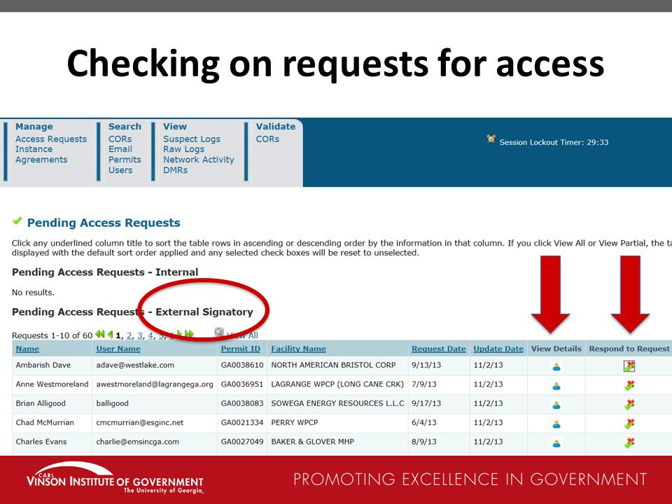 Checking on requests for access